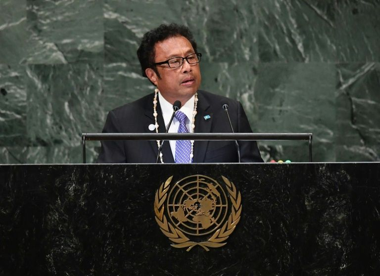 President of Palau Tommy Remengesau addresses a meeting at the United Nations.