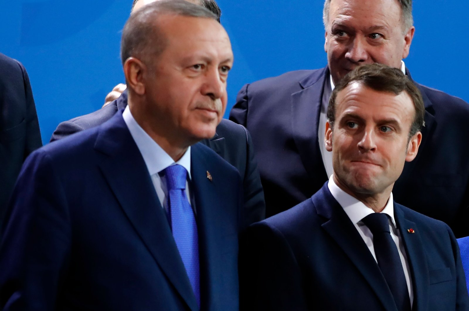 Turkish President Recep Tayyip Erdogan and French President Emmanuel Macron during a peace summit on Libya at the Chancellery in Berlin.