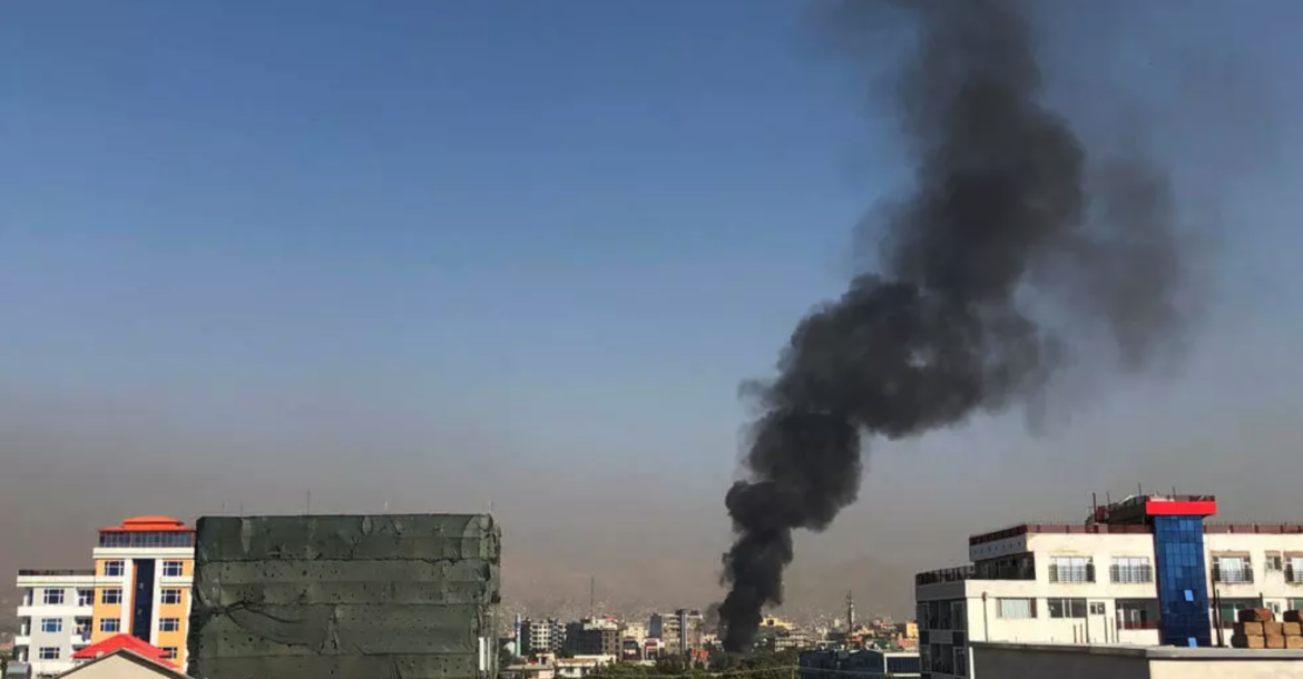 A smoke plume rises following an explosion targeting the convoy of Afghanistan's vice president Amrullah Saleh in Kabul