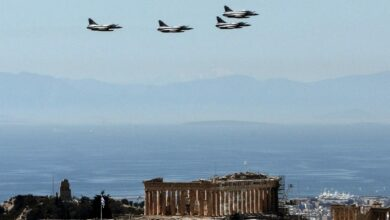 Fighter jets fly over the Parthenon at the Acropolis on March 25, 2017 in Athens, during a military parade marking Greece's Independence Day.