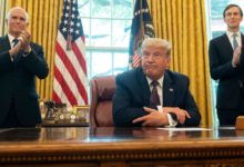 US President Donald Trump in the Oval Office soon after he announced Israel is going to normalize ties with United Arab Emirates and Bahrain.