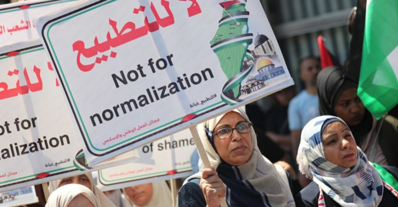 Palestinians gather to protest a deal between the United Arab Emirates (UAE) and Israel to normalize ties in Gaza City, Gaza on August 19, 2020