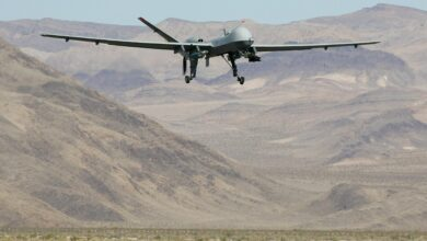An MQ-9 Reaper takes off 8 August, 2007 at Creech Air Force Base in Indian Springs, Nevada.