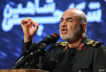 In this file photo taken on September 21, 2019, Iranian Revolutionary Guards commander Major General Hossein Salami speaks in capital Tehran