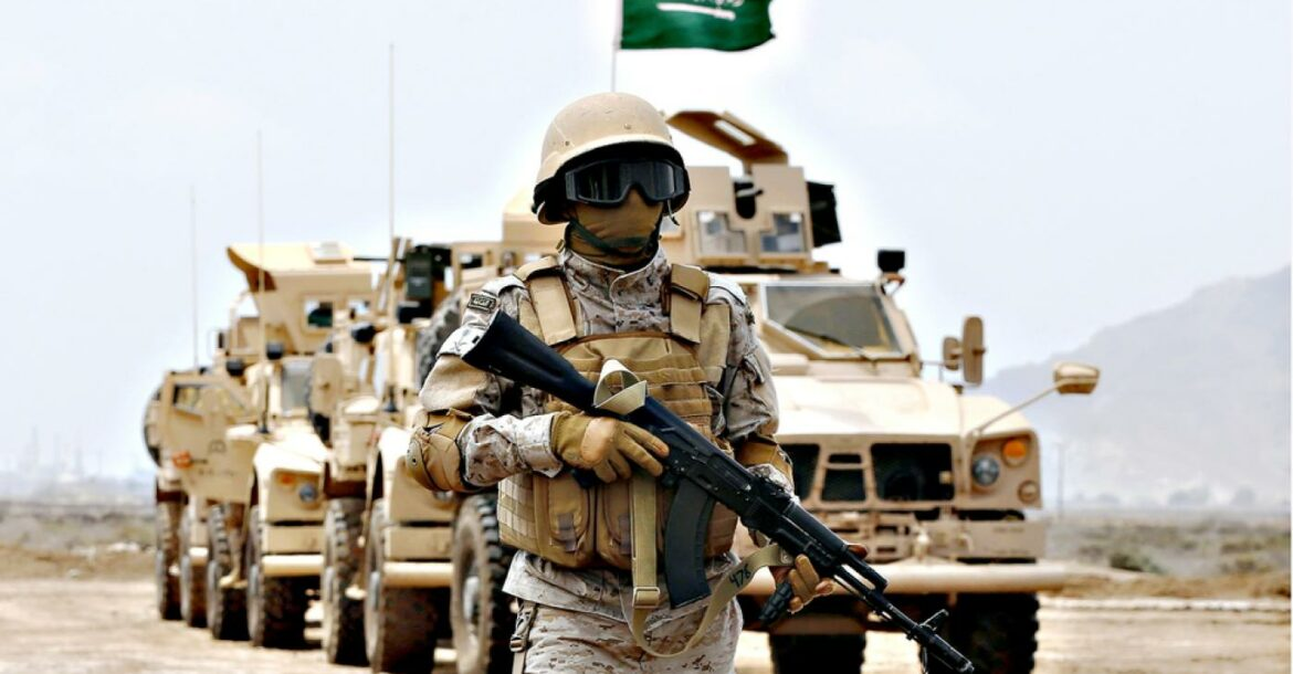 A member of the Saudi forces stands to attention during a presidential visit in Yemen.
