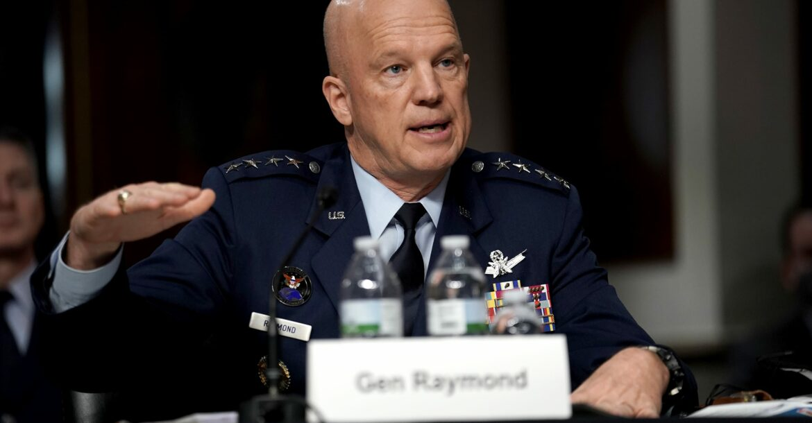 US Space Force General John Raymond testifies during the Senate Armed Services Committee hearing on the impact of the Federal Communications Commission's Ligado Decision on National Security on Capitol Hill in Washington, DC on May 6, 2020.