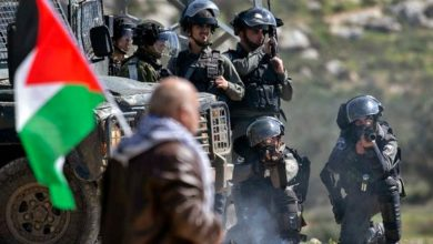 Israeli security forces keep position during clashes with Palestine.