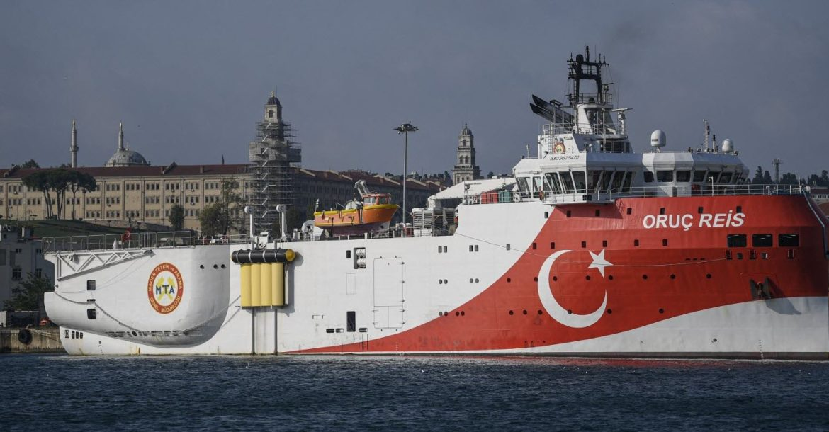 The Turkish research vessel Oruc Reis operated for subsea geophysical exploration.