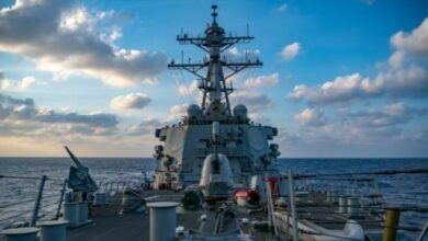 The guided-missile destroyer USS Barry in the South China Sea earlier this year.
