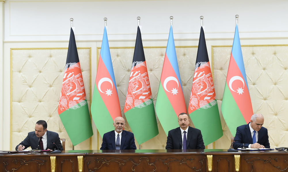 A 2017 ceremony of signing Azerbaijan-Afghanistan documents with participation of Azerbaijan President Ilham Aliyev and Afghan President Ashraf Ghani