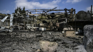 A photograph taken on October 15, 2020 shows a destroyed and burnt helmet lying on the ground of the hospital of Martakert region, a day after shelling during the ongoing fighting between Armenia and Azerbaijan over the disputed region
