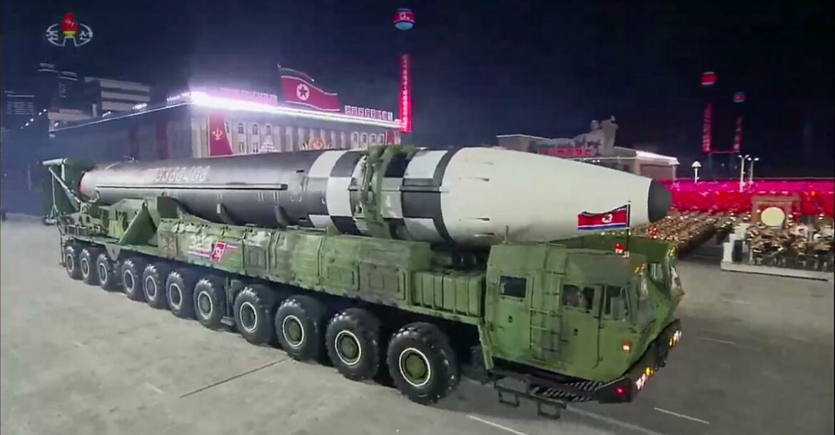 Photo of North Korea's new ICBM sighted during a military parade that marked the 75th anniversary of the founding of the Workers' Party of Korea