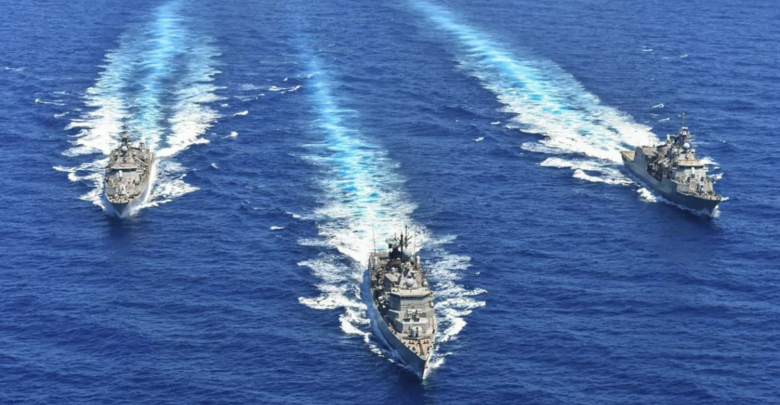 Greek Hydra-class frigates take part in a military exercise in the eastern Mediterranean on August 26, 2020
