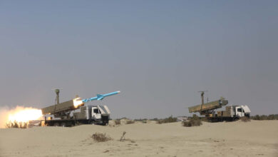 A handout picture provided by the Iranian army's website on Sept. 11, 2020, shows an Iranian Ghader missile being fired during the second day of a military exercise in the Gulf, near the strategic strait of Hormuz in southern Iran.