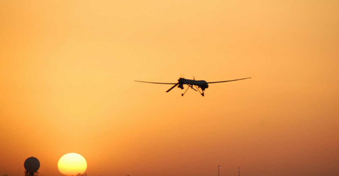 A US Air Force MQ-1B Predator goes out on patrol from Balad Air Base, Iraq, in August 2007.