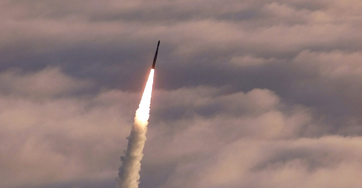 Photo of a missile being shot into the air.