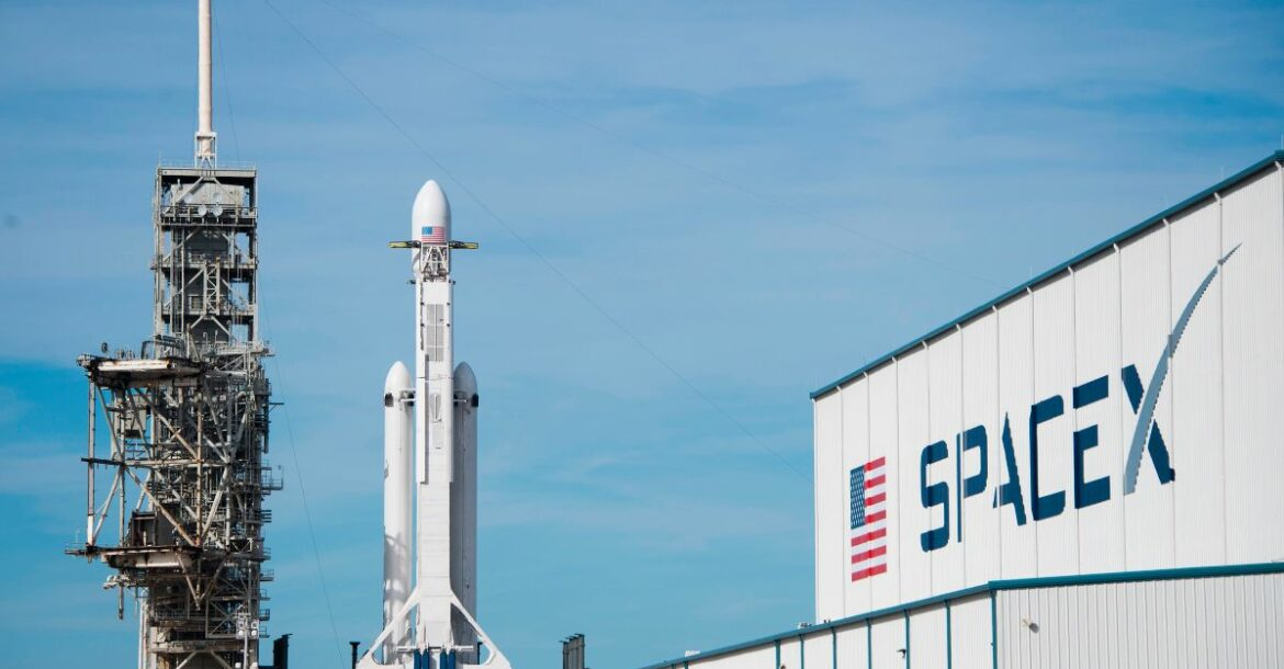 The SpaceX Falcon Heavy rests on Pad 39A at the Kennedy Space Center in Florida, on February 5, 2018, ahead of its demonstration mission