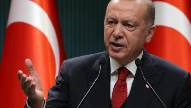 Photo of Turkish President Recep Tayyip Erdogan speaking at a press conference in Ankara, Turkey.
