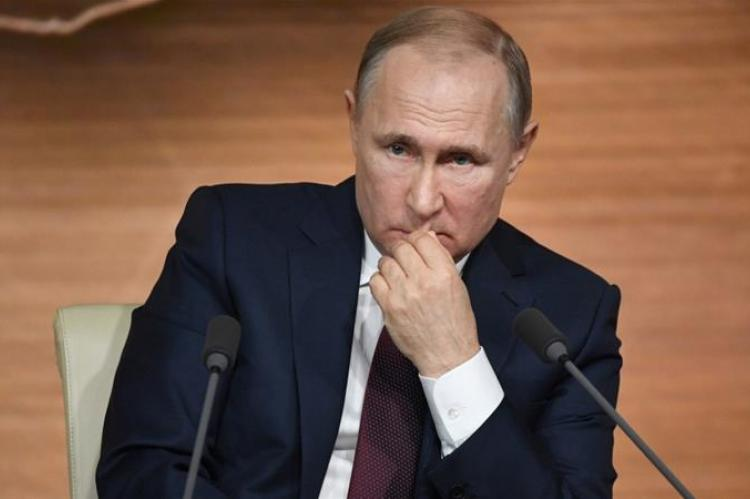 Photo of Russia's President Vladimir Putin in an annual news conference in Moscow, on December 19, 2019.