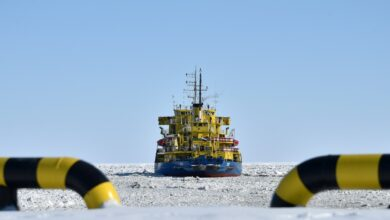 The Russian icebreaker Tor at the port of Sabetta on the Arctic circle