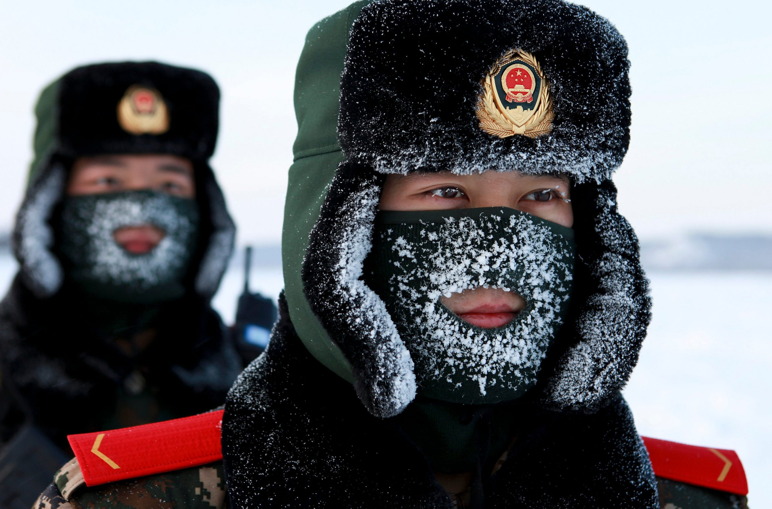Chinese paramilitary police border guards train in the snow at the northernmost, subarctic point of China's Heilongjiang province, on the border with Russia.
