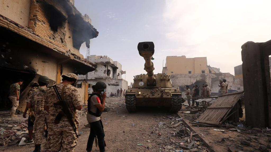 Soldiers loyal to Libya's UN-backed Government of National Accord (GNA) in the coastal city of Sirte.