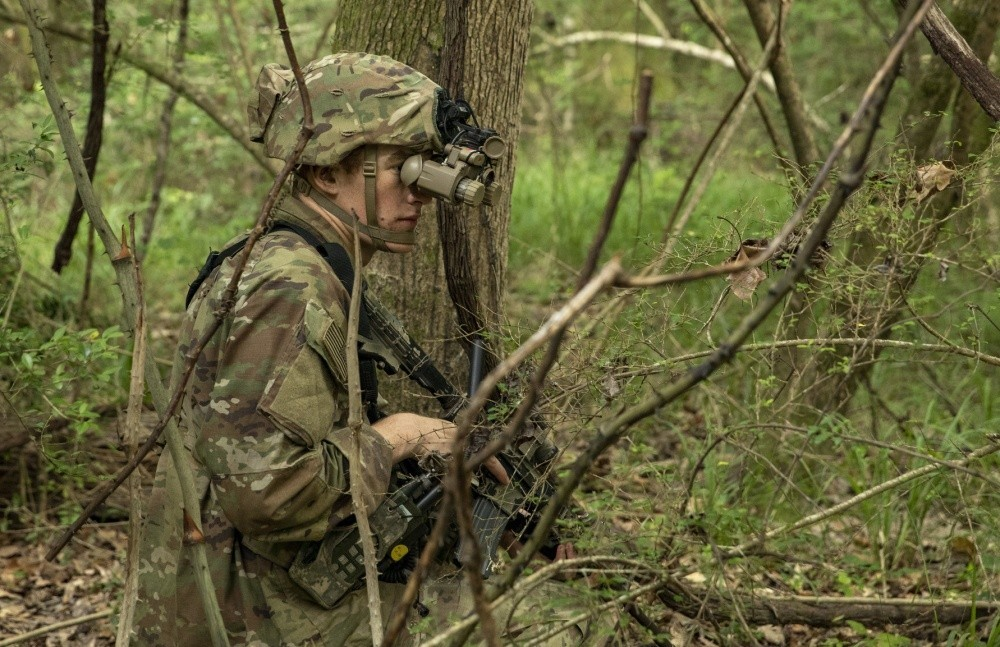 A US Army Cavalry scout wears the enhanced night vision goggle-binocular, or ENVG, while pulling security duty during training at Fort Polk, La