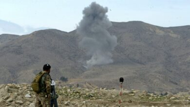 Smoke from a previous U.S. air strike in Nangarhar province