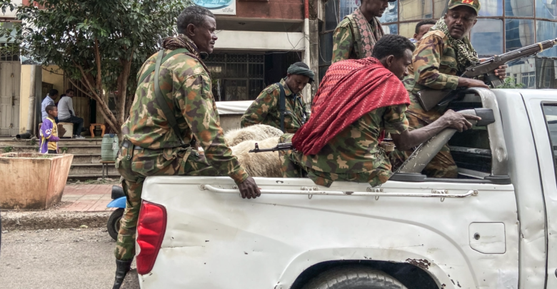 Members of an Amhara armed group who fight alongside federal and regional forces against fighters from the northern region of Tigray