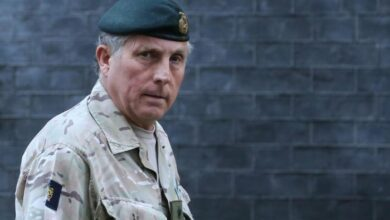 British Army General Sir Nicholas Carter leaves number 10 Downing Street in central London.