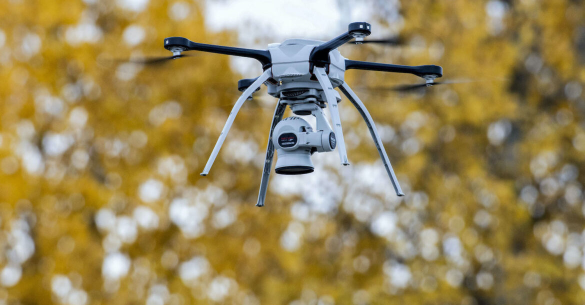 A drone operated by airmen flies over a training area at Joint Base Elmendorf-Richardson, Alaska, Oct. 8, 2019, while capturing aerial intelligence during Polar Force 20-1, a two-week exercise designed to test the base's mission readiness