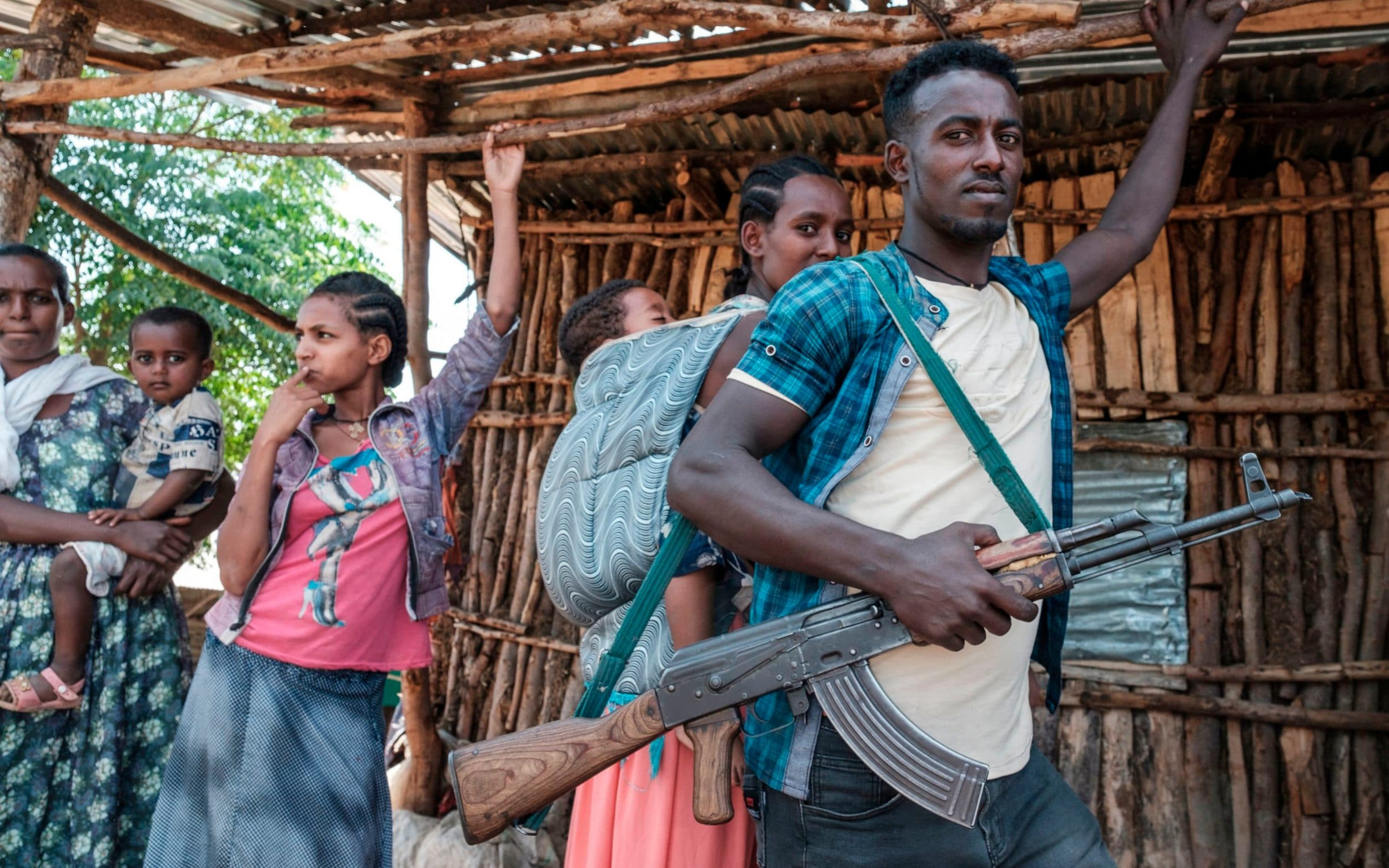 An Ethiopia's Amhara Region militia man poses in the town of Musebamb, 44 kms northwest from Gondar.