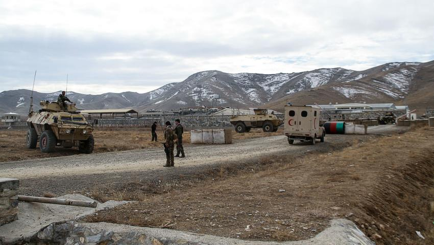 Security personnel patrol after a car bomb struck an army base on the outskirts of Ghazni province on November 29, 2020