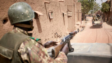 Malian army on patrol in the central Malian village of Djenne on February 28 2020