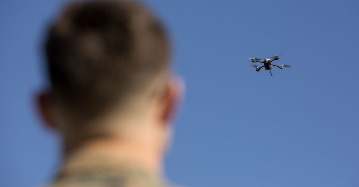 A US Marine with 2nd Marine Division, flies a Instant Eye drone system during Small Unmanned Aircraft System (SUAS) training on Camp Lejeune, N.C., Feb. 5, 2019.