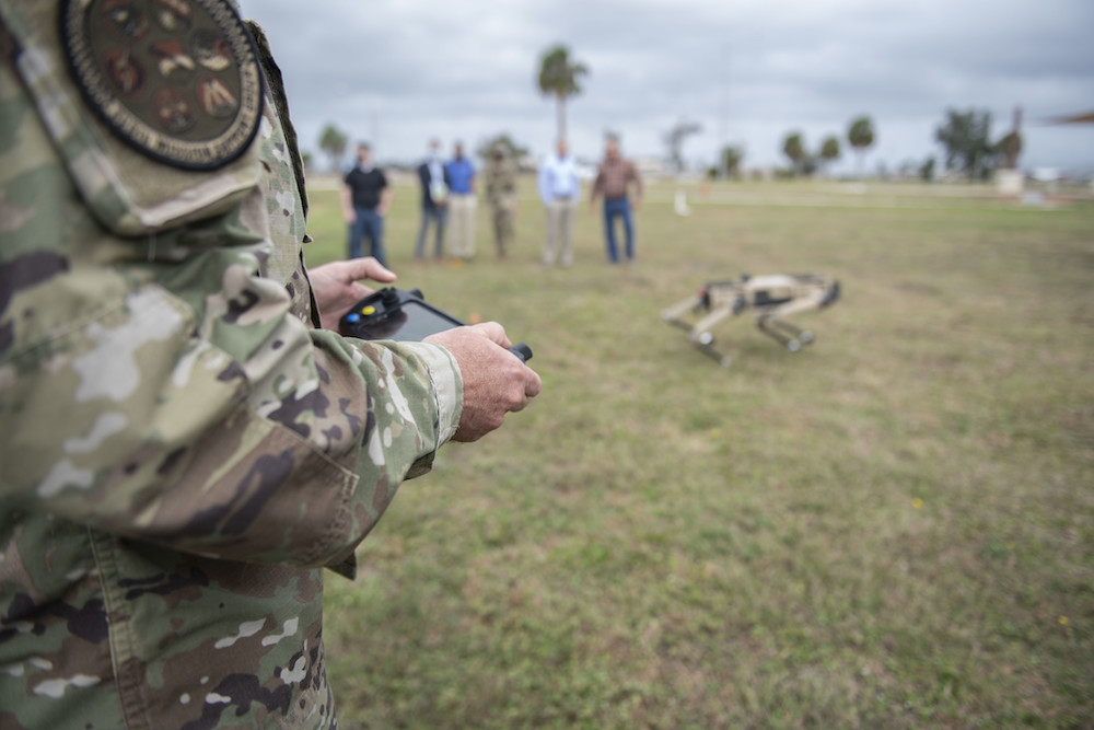 US Air Force Col. Gregory Beaulieu, 325th Mission Support Group commander, drives an unmanned ground vehicle on Tyndall Air Force Base, Florida, Nov. 10, 2020.