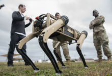 An unmanned ground vehicle is tested at Tyndall Air Force Base, Florida, Nov. 10, 2020.