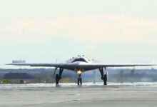 Photo of Russia's Okhotnik heavy attack drone.