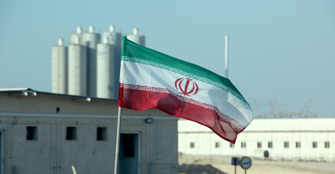 This file photo from 2019 shows an Iranian flag at Bushehr nuclear power plant in Iran