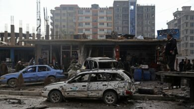 Damaged cars at the site of an attack in Kabul, Afghanistan, on Sunday, December 20, 2020