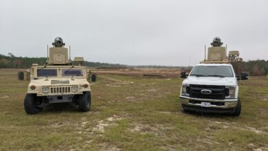 MADS-K OTM V4 counter-drone systems installed on an Up-Armored HMMWV & Ford F350 Platforms