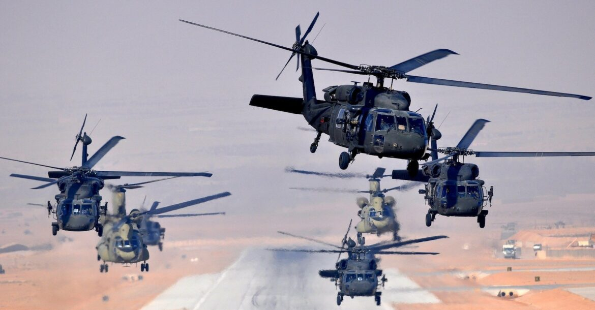Six UH-60L Black Hawks and two CH-47F Chinooks, assigned to Task Force Brawler, 4th Battalion, 3rd Aviation Regiment, Task Force Falcon, simultaneously launch a daytime missionfrom Multinational Base Tarin Kowt