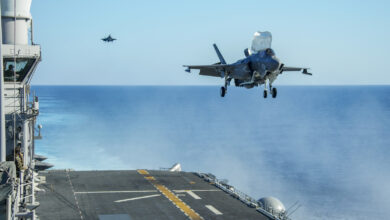 US Marine Corps F35-B prepares to land on the flight deck of the amphibious assault ship USS Makin Island.