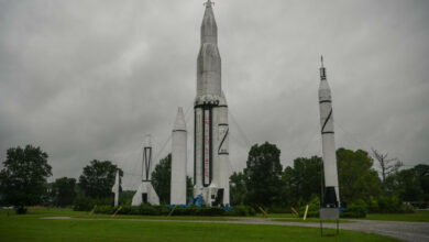 The V-2 rocket and Saturn I rocket at Rocket Park on July 2019, at NASA's Marshall Space Flight Center in Huntsville, Alabama.