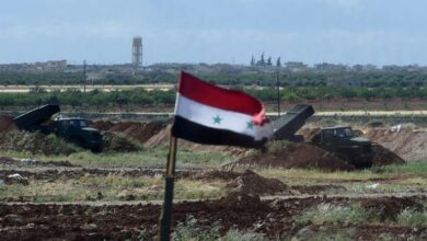 A battery of the Syrian Army's Russian made the BM-21 multiple rocket launcher is visible in Hama province, in the northwest of Syria on May 4, 2016.
