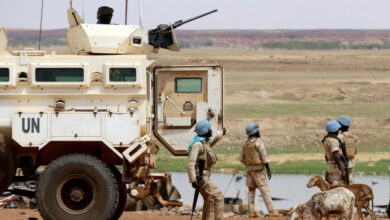 Senegalese soldiers from the UN peacekeeping mission in Mali, MINUSMA, on July 24, 2019.