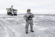 A soldier holds a machine gun as he patrols the Russian northern military base on Kotelny island, beyond the Artic circle on April 3, 2019.