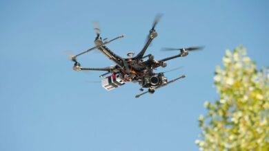 Photo of a small drone hovering.