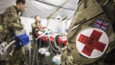 Demonstration by an RAF Critical Care Air Support Team, moving a patient.