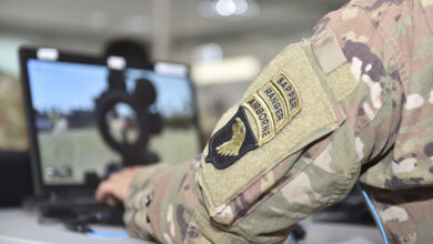 A US Army Sapper, Ranger, and Airborne qualified Soldier assigned to the 101st Airborne Division, uses the Virtual Battle Space 3 (VBS3) system at the Joint Multinational Simulation Center's Tactical Gaming division in Camp Aachen, Germany, May 3, 2019.